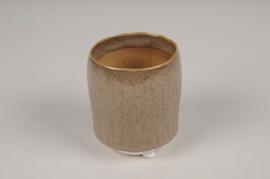 A006BJ Cache-pot en céramique brun D7cm H9cm