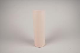 A006CC Vase en métal cylindre rose D9cm H30cm