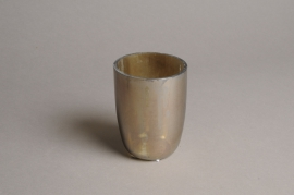 A006G2 Pearly glass candle jar D7cm H9.5cm