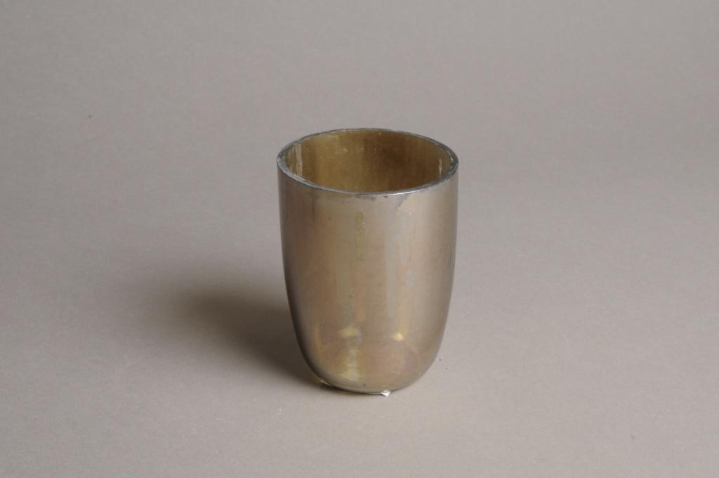 A006G2 Photophore en verre nacré D7cm H9.5cm