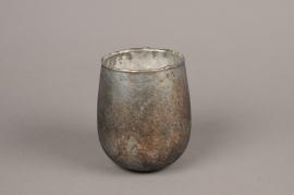A006G7 Old blue glass jar D9cm H11cm
