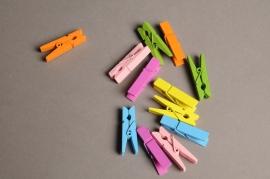 A006J9 Sac de 12 pinces en bois colorées 3,5cm