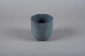 A006JY Grey metal planter D12.5cm H13.5cm