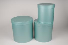 A006O1 Set de 3 boîtes en carton bleu D28cm H28cm