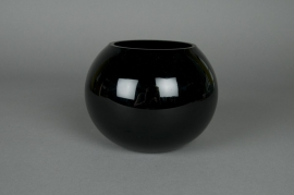 A006PS Glass ball vase black D20 H15,5cm