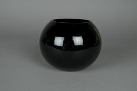 A006PS Vase verre boule noir D20 H15,5cm