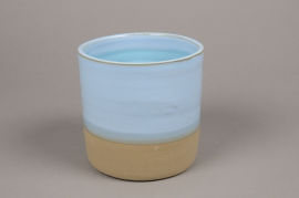 A006Q0 Blue ceramic planter pot D20cm H20cm