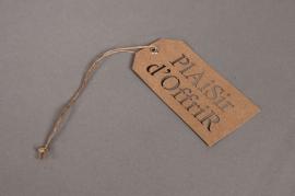 A006RT Paquet de 20 étiquettes kraft Plaisir d'offrir 5,5X11cm