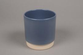 A006T3 Cache-pot en céramique bleu D13cm H13cm