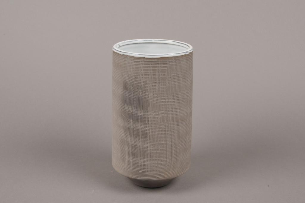 A006W5 Vase en grès gris D11cm H20cm