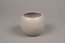 A007A9 Cache-pot céramique boule gris D9cm H10cm