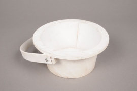 A007AV White wooden pot D13cm H7cm