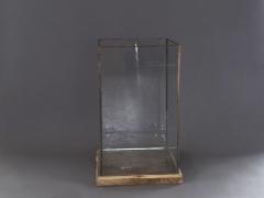 A007B8 Photophore en verre et cuivre 34x34cm H52cm