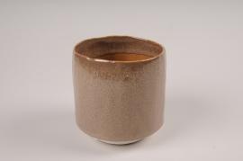 A007BJ Cache-pot en céramique brun D11cm H11.5cm