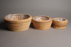 A007CB Set de 3 coupes en bambou D26cm H13cm