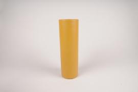 A007CC Vase en métal cylindre jaune D9cm H30cm