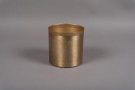 A007E5 Pot en métal brossé or D15.5cm H15.5cm
