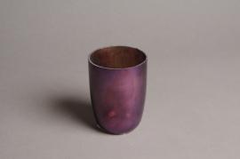A007G2 Photophore en verre violet D7cm H9.5cm