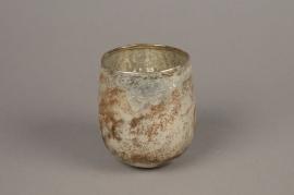 A007G7 Old silver glass jar D9cm H11cm