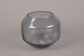 A007IH Glass vase black D20cm H15.5cm