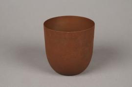A007JY Cache-pot en métal rouille D13cm H13cm