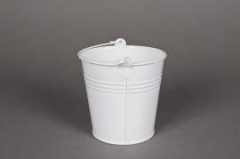 A007KM Seau en zinc blanc D11cm H10cm