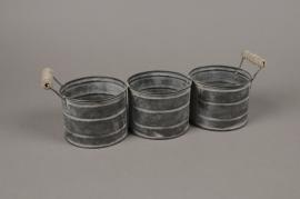 A007LE Cache-pot en zinc triple avec anses 35x10cm H11cm