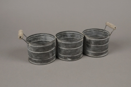 A007LE Triple zinc planter with handles 35x10cm H11cm