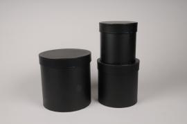 A007O1 Set de 3 boîtes en carton noir D18cm H18cm
