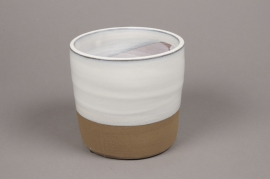 A007Q0 White ceramic planter pot D20cm H20cm