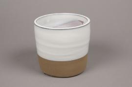 A007Q0 Cache-pot en céramique blanc D20cm H20cm