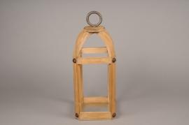 A007S0 Wooden lantern 25cm x 25cm H55cm