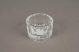 A007SH Bougeoir en verre strié D5.5cm H3.5cm