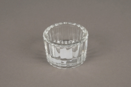 A007SH Ribbed glass candleholder D5.5cm H3.5cm