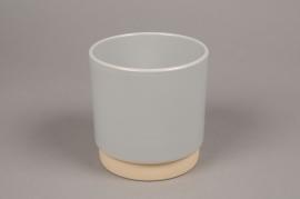 A007T3 Cache-pot en céramique gris D13cm H13cm