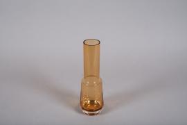 A007W3 Vase en verre ambre D9cm H28cm