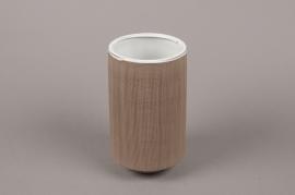A007W5 Brown stoneware vase D11cm H20cm