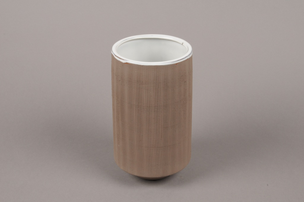 A007W5 Vase en grès taupe D11cm H20cm