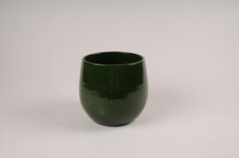 A007XD Cache-pot en céramique vert D14.5cm H12cm