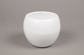 A008A8 White bowl ceramic planter D12.5cm H13.5cm