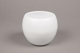 A008A8 White bowl ceramic planter D12.5cm H13.5cm