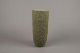 A008AC Vase en béton feuillage vert D14cm H34cm