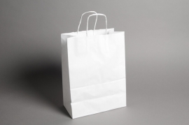 A008AS Paquet de 25 sacs kraft blanc 26cm x 12cm H36cm