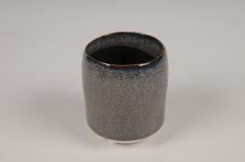A008BJ Brown ceramic planter pot D7cm H9cm