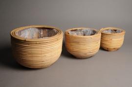 A008CB Set of 3 bamboo planters D22cm H18cm
