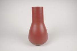 A008CC Vase en métal rouge D18cm H31cm