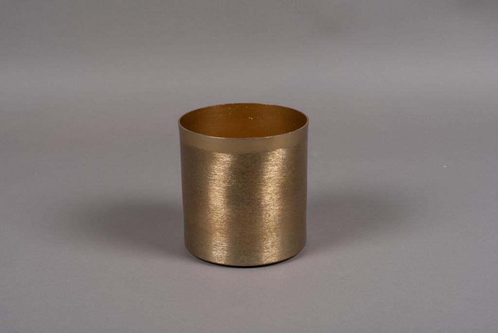 A008E5 Gold brushed metal vase D13cm H13.5cm