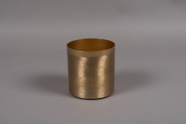 A008E5 Gold brushed metal vase D13cm H13.5cm