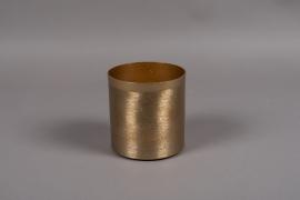 A008E5 Pot en métal brossé or D13cm H13.5cm