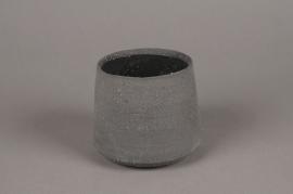 A008HX Cache-pot en terre cuite gris D13cm H10.5cm